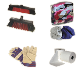 Selection of consumables including rags, gloves, brushes and towels