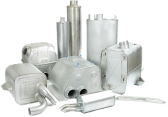 Selection of silencers, tubing and spark arrestors
