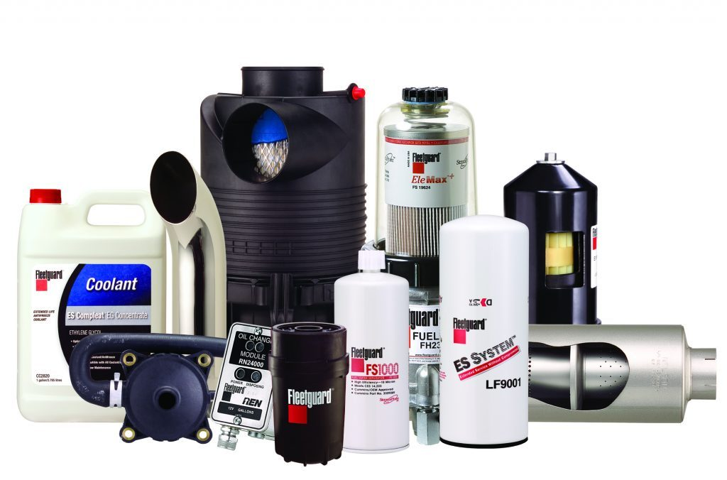Selection of fleetguard air filters, water filters, hydraulic filters, oil filters and fuel filters