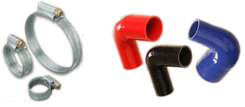 Silicone hoses and stainless steel clamps