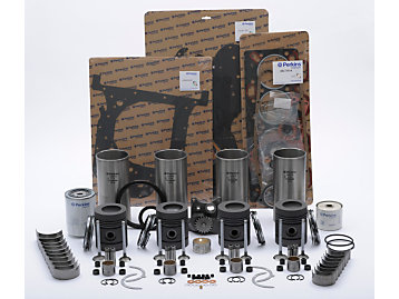 Selection of pistons, liners, bearings and gaskets